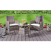 Comfy Living Rattan Bistro Garden Furniture Set - 2 Chairs and Coffee Table with Rain Cover in GREY