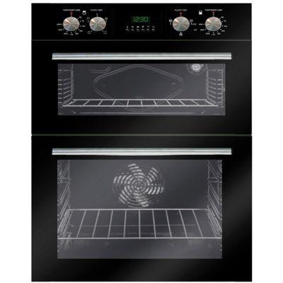 SIA DO102 60cm Black Multi Function Built In Double Electric True Fan Oven