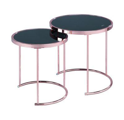 Visio Glass Round Nesting Table,Black/Copper