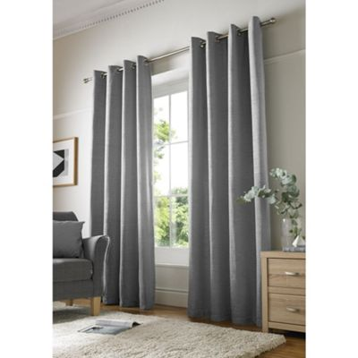 Alan Symonds Silver Chenille Eyelet Curtains - 66x54 Inches (168x137cm)