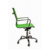High Back Ribbed Green Faux Leather Office Chair