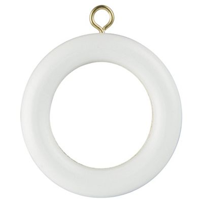 28mm Wood Pole Curtain Rings White Pack of 4