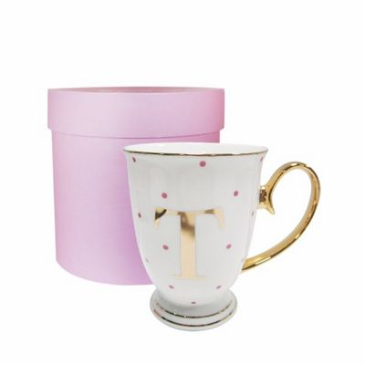 Bombay Duck Alphabet A to Z Spotty Mug Cup Gold Letter with Presentation Hat Box | Fuchsia Spots| Letter T