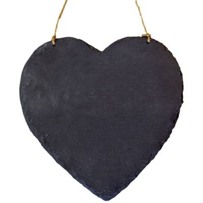 Large Hanging Heart Slate Chalk Board / Black Board - Pack of 2