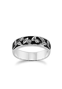 Gemondo Sterling Silver 4.8pt Marcasite & Black Enamel Floral Band Ring