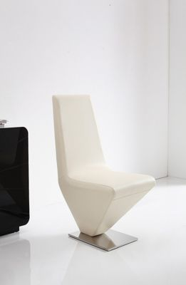 x6 Rita Steel & Ivory Faux Leather Dining Chairs