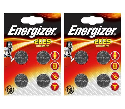 8 x Energizer CR2025 DL2025 SBT-14 3v Lithium Coin Cell Battery