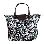 Black and White Leaf Fold Up Large Shopping Bag