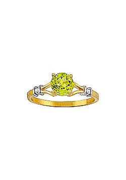 QP Jewellers Diamond & Peridot Aspire Ring in 14K Gold