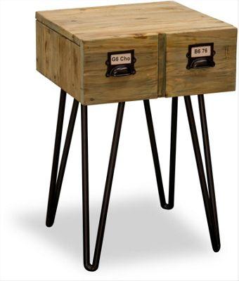 Ultimum Burden Vintage Style 1 Drawer Side Table - Reclaimed Pine