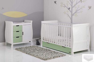 Obaby Stamford 2 Piece + Pocket Sprung Mattress Nursery Room Set - White with Pistachio