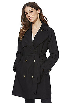 F&F Shower Resistant Trench Coat - Black