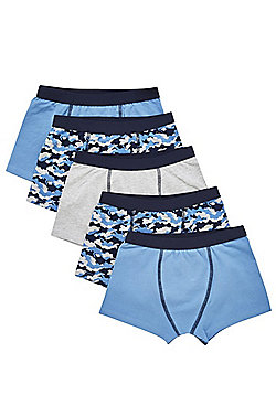 F&F 5 Pack of Camo Print and Plain Trunks with As New Technology - Blue