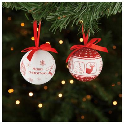 Festive Red & White Tree Icons Decoupage Baubles, 4 Pack
