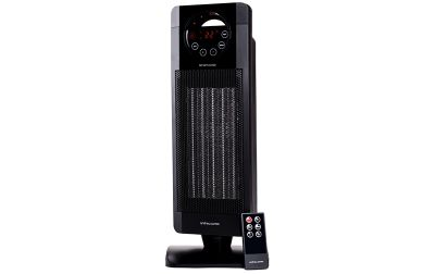 Andrew James Oscillating Tower Fan Heater with Remote Control - 15˚ to 35˚ - Black