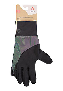 Zakti Womens Lunar Glow Isocool Running Gloves w/ Reflective Details/Key Pockets - Multi
