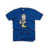 Fallout Vault Boys Charisma Large T-shirt, Blue (ge1207l) - Gaming T-Shirts