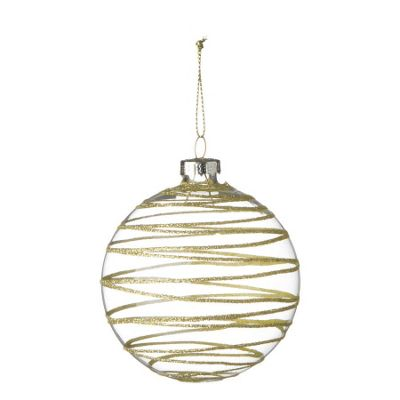 Glass Bauble With Gold Glitter Stripes - Christmas Tree Decoration