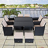 Outsunny 9PC Wicker Furniture Outdoor Rattan Dining Set with Foot Stool - Black