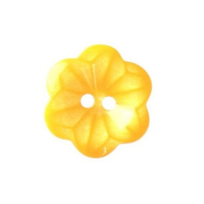 Hemline Two Hole Yellow Flower Buttons 15mm 5pk