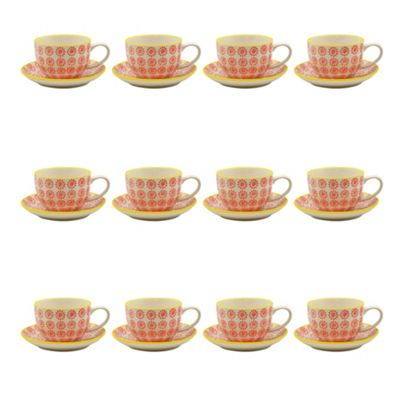 Patterned Porcelain Cappuccino Cups and Saucer Set - Red / Yellow Swirl - 250ml - Set of 12