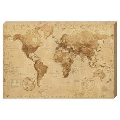 Superior Vintage Sepia World Map Canvas, 91x61cm