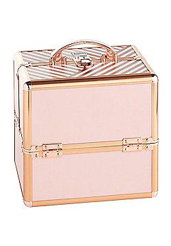 Beautify Small Blush Rose Gold Stripe Print Beauty Cosmetics Make Up Case