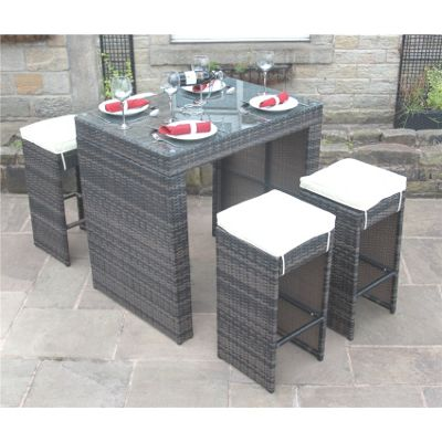 Bermuda Outdoor Brown Rattan Garden Bar Set - Seats 4