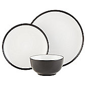Two Tone Black Stoneware 12 Piece Dinner Set