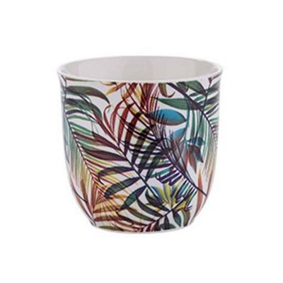 Bahne Coffee or Tea Mug Bone China Leaf Print No Handle Design
