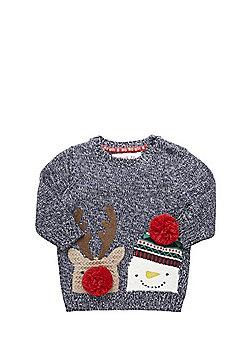F&F Snowman and Reindeer Christmas Jumper - Blue