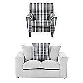 Wrayton Scatterback Accent Chair + 2 Seater Sofa Set, Grey