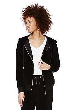 F&F Velour Zip-Through Hoodie - Black