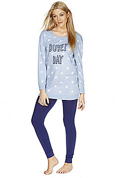 F&F Duvet Day Slogan Pyjamas - Blue