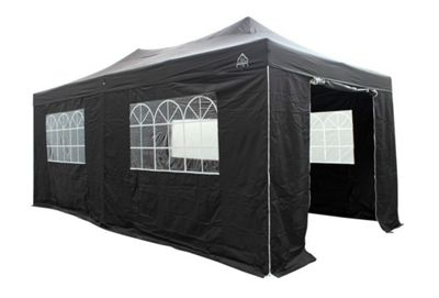 All Seasons Gazebos, Heavy Duty, Fully Waterproof, 3m x 6m Superior Pop up Gazebo Package in Black