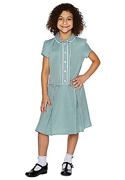 F&F School Girls Easy Care Gingham Dress with Scrunchie - Green