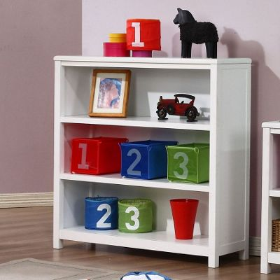 Hickory 3 Shelf Bookcase - White
