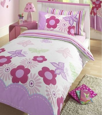 Butterfly and Flowers Double Duvet