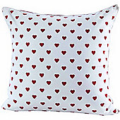 Homescapes Cotton Red Hearts Scatter Cushion, 60 x 60 cm