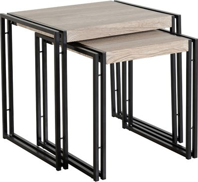 TNW Burton Nest Of 2 Tables in Oak Effect Veneer/Black