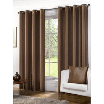Hamilton McBride Faux Silk Lined Eyelet Bronze Curtains - 66x54 Inches (168x137cm)