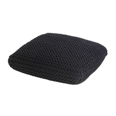 Homescapes Black Knitted Cotton Pouffe Floor Cushion Square 70 x 70 x 20 cm