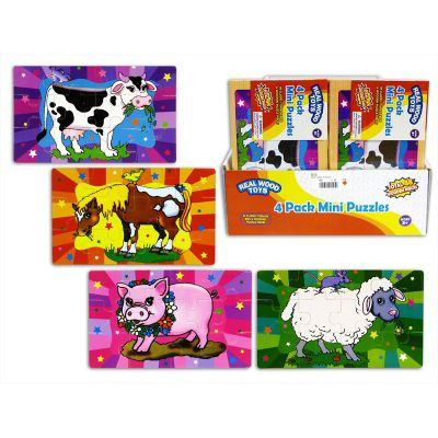 Farm Animals Mini Wooden Jigsaw Puzzles 4 pack Age 3+