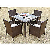 Bilbao Square Rattan Garden 5 Piece Dining Set & 4 Chairs Brown