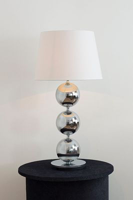 Chrome Ball Table Lamp With Cream Shade.