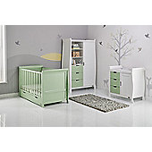 Obaby Stamford Cot Bed 4 Piece Sprung Mattress Nursery Room Set - Pistachio Cotbed, Pistachio Drawers
