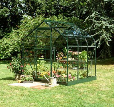 Halls 6x6 Supreme Curved Greenframe Greenhouse + Green Base-frame - Toughened Glass