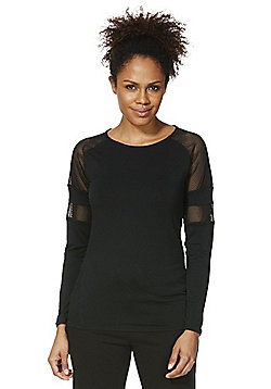 F&F Active Mesh Panel Long Sleeve T-Shirt - Black