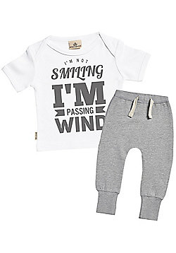 Passing Wind Baby T-Shirt & Joggers Outfit Set - White