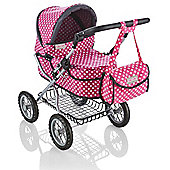 Molly Dolly Pink 9680-P Deluxe Dolls Pram